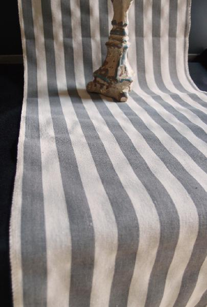"""14 1/2""""x108"""" Solid Pewter Gray Stripes Linen Table Runner with Selvaged Edge"""