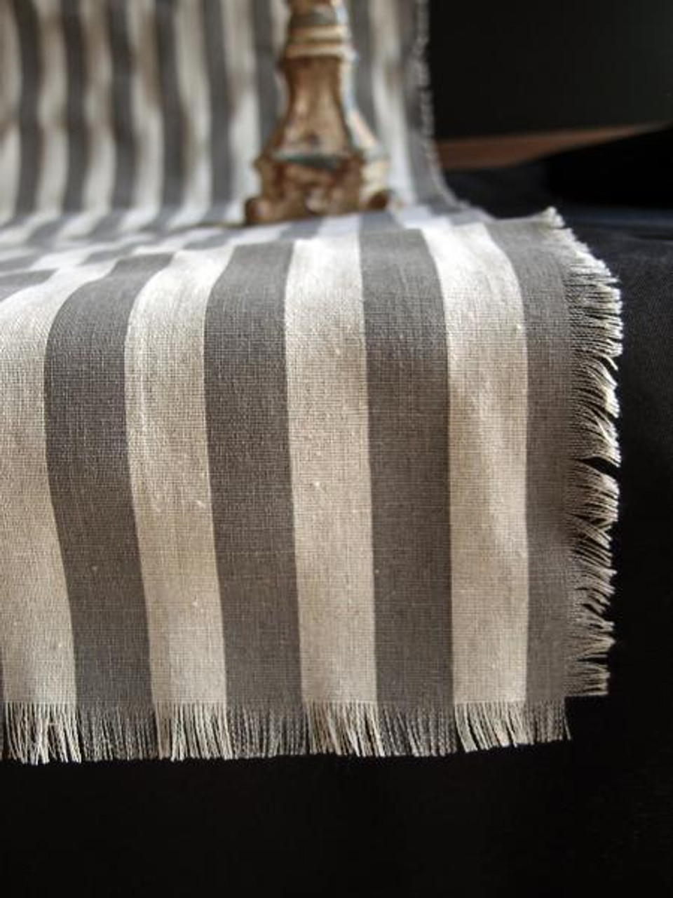 "19""x108""  Solid Pewter Gray Stripes Linen Table Runner with Fringed Edge"