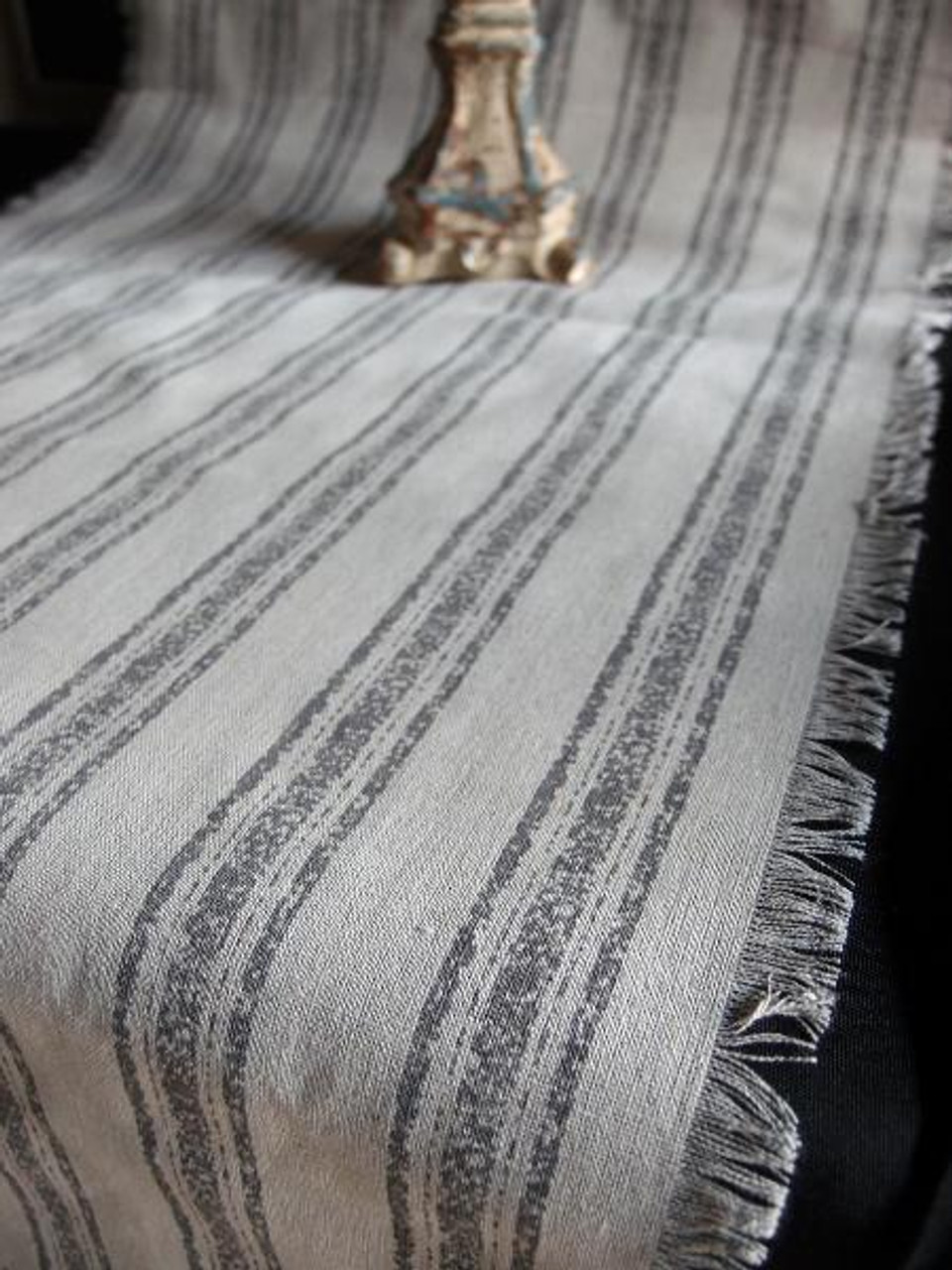 "19""x108"" Pewter Gray Stripes Linen Table Runner with Fringed Edge"