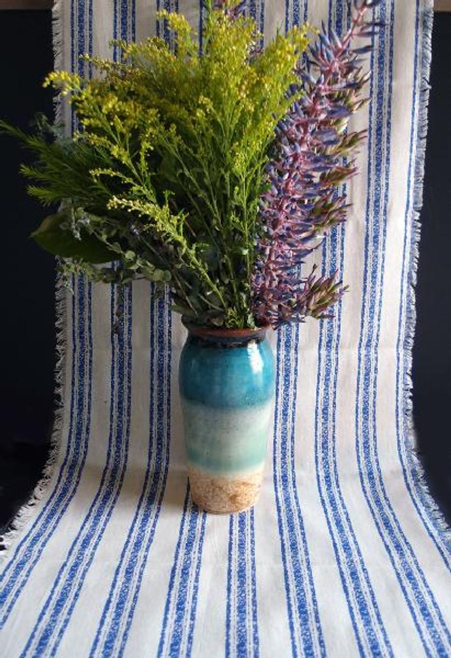 """19""""x108"""" Ocean Blue Stripes Linen Table Runner with Fringed Edge"""