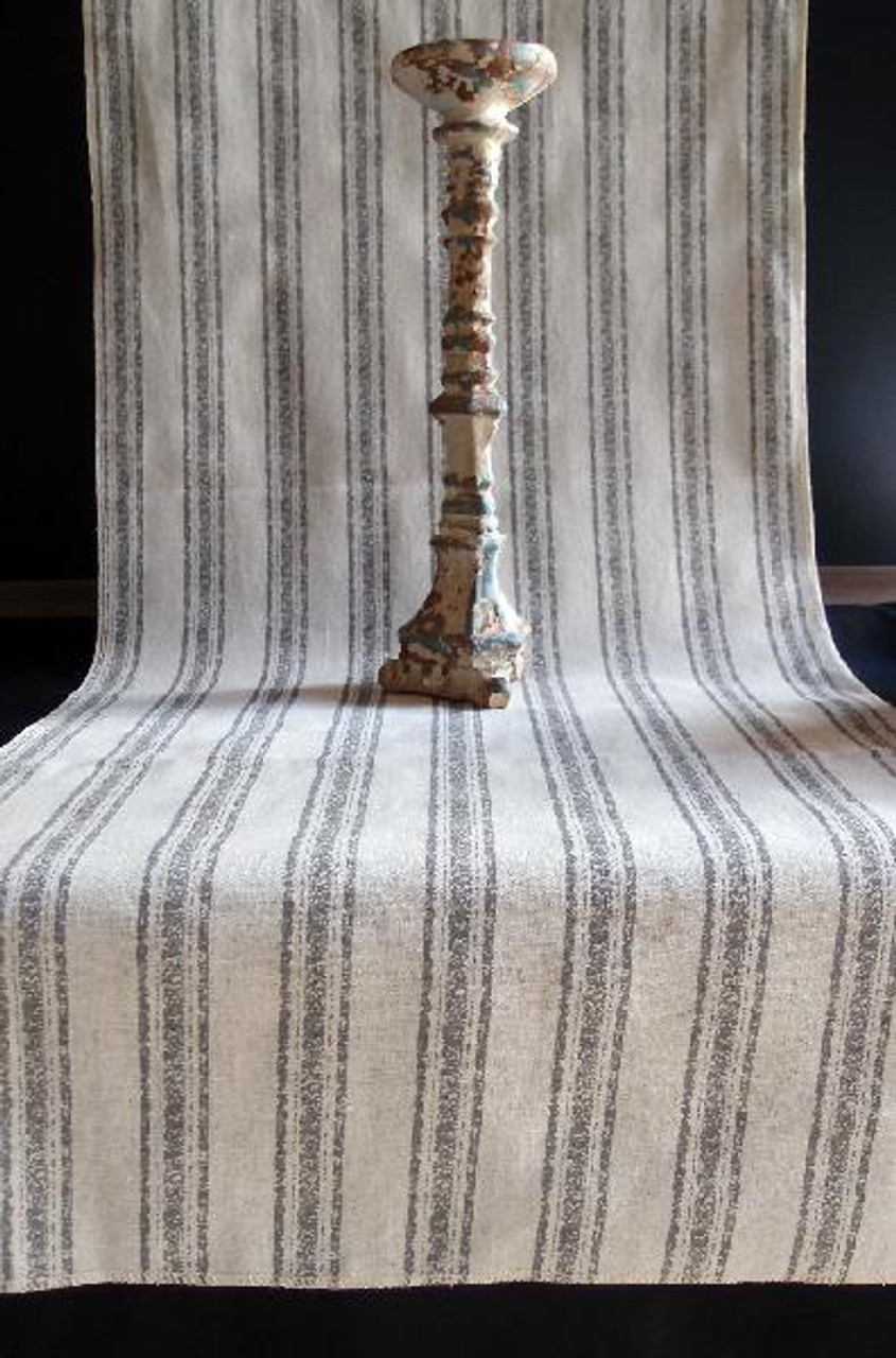 "19""x108"" Pewter Gray Stripes Linen Table Runner with Selvaged Edge"