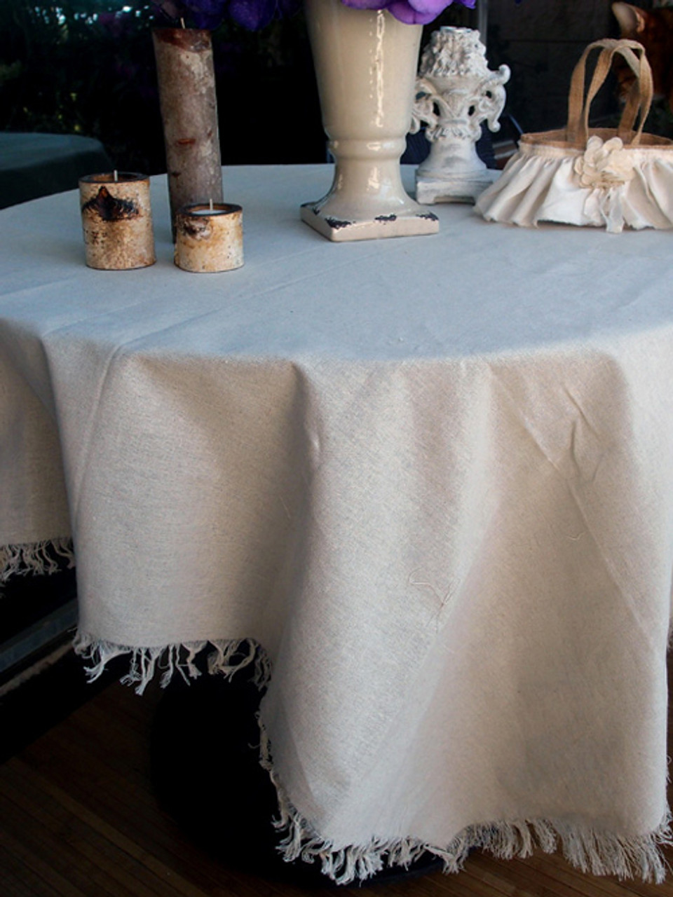 "54""x54"" Linen Table Cover with Fringed Edge"