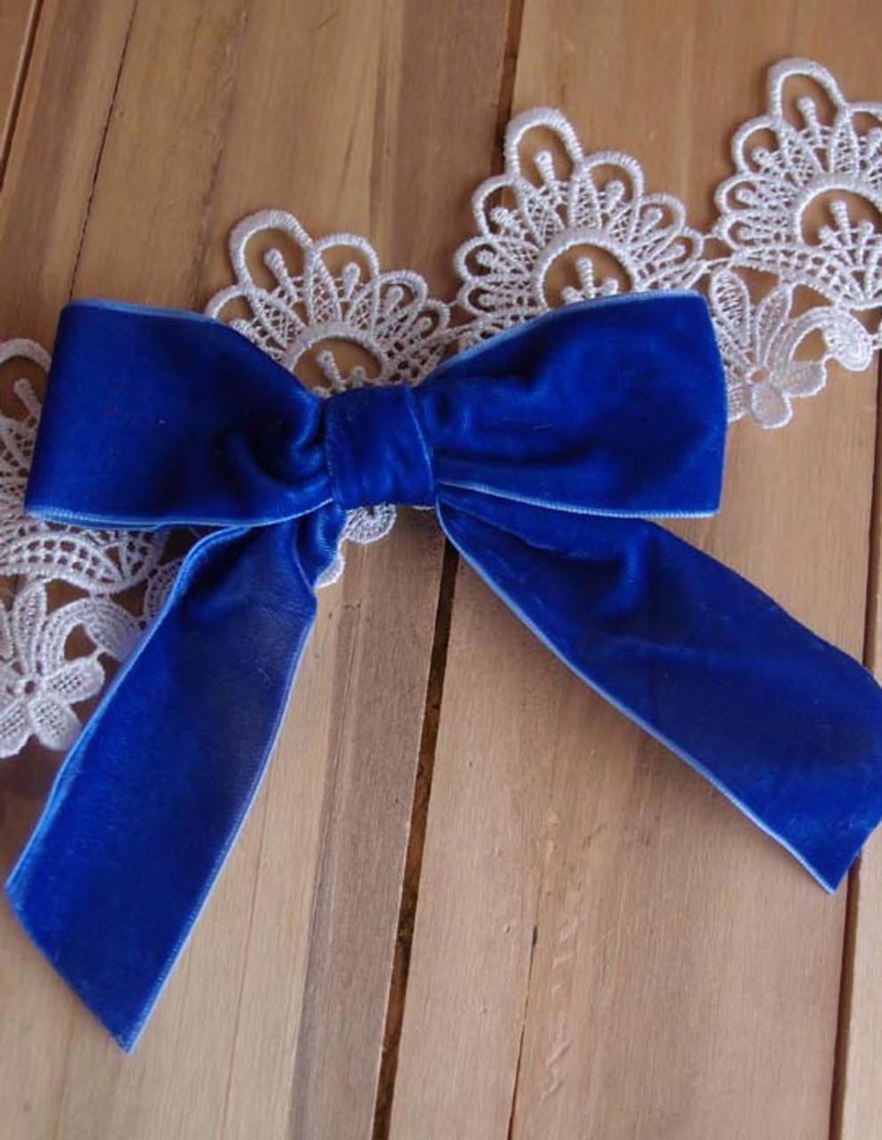 "Royal Blue 5"" Velvet Pre-tied  Bow w/Twist-tie"