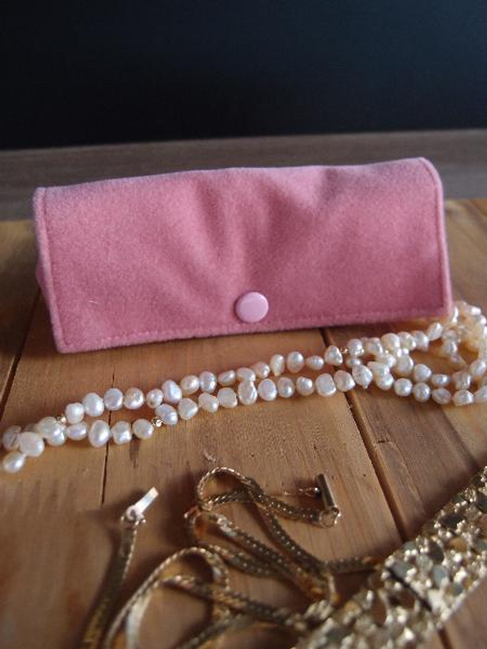 Mauve Pink Velvet Jewelry Holder-Large