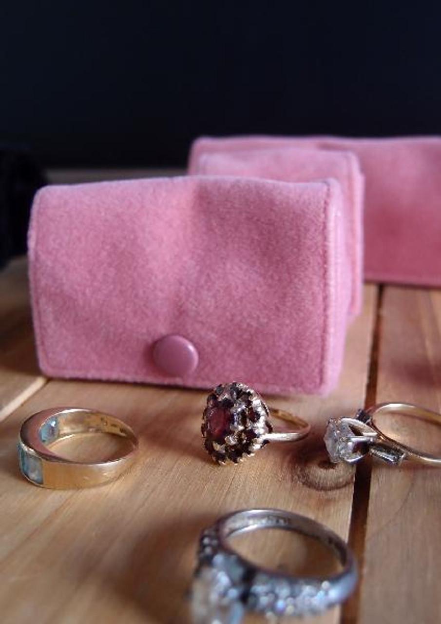 Mauve Pink Velvet Jewelry Holder-Medium