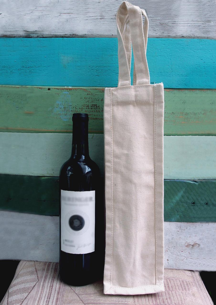 """Cotton Canvas Wine Bag 4"""" x 4"""" x 14"""" H"""