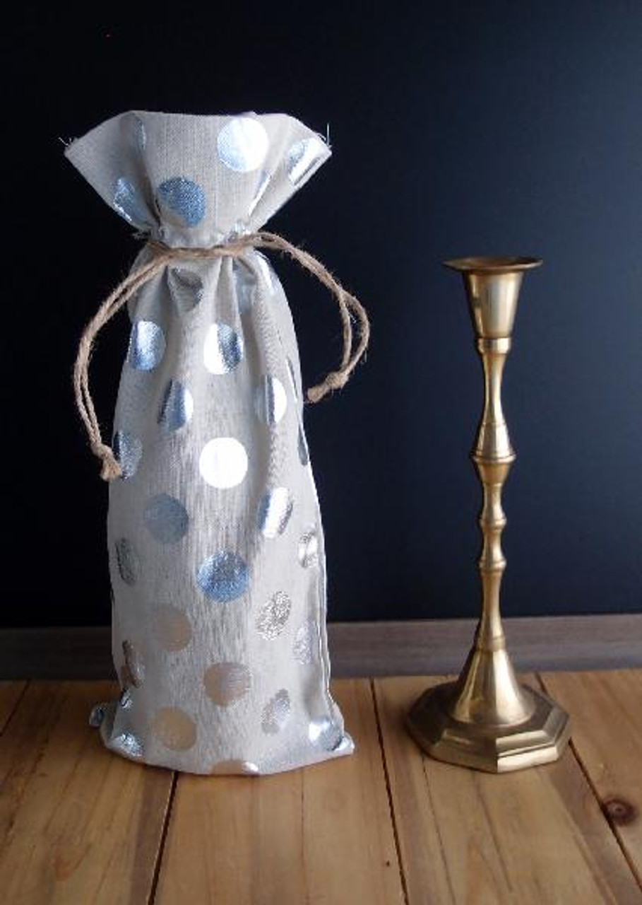 Linen Wine Bag with Silver Metallic Dots 6 x 14 inches, Wholesale Wine Bags | Packaging Decor