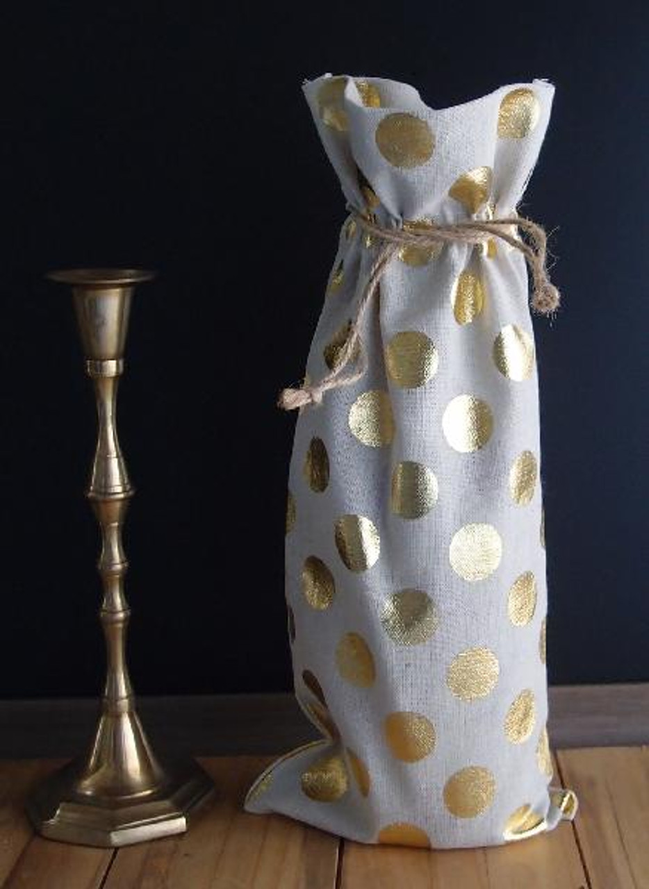 "Linen Wine Bag with Gold Metallic Dots 6""x14 """