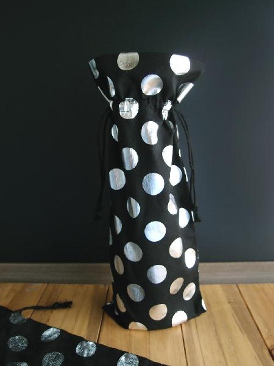 "Cotton Black Wine Bag with Silver Metallic Dots 6"" x 14"" (B185-30)"