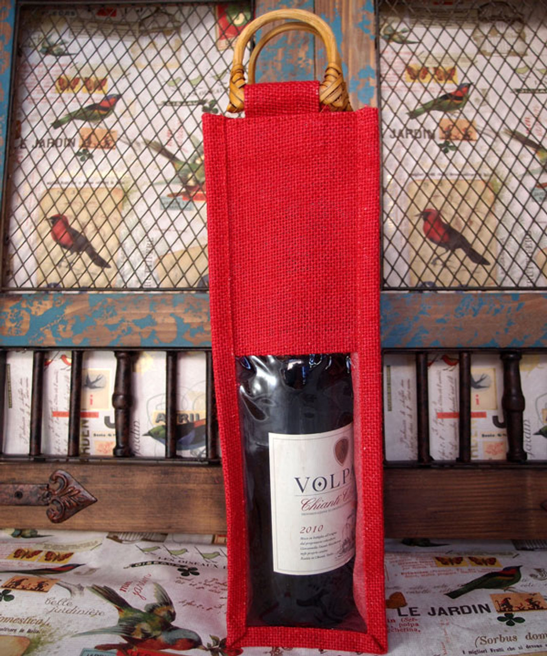 Red Jute Wine Bag with Cane Handle & Clear Window