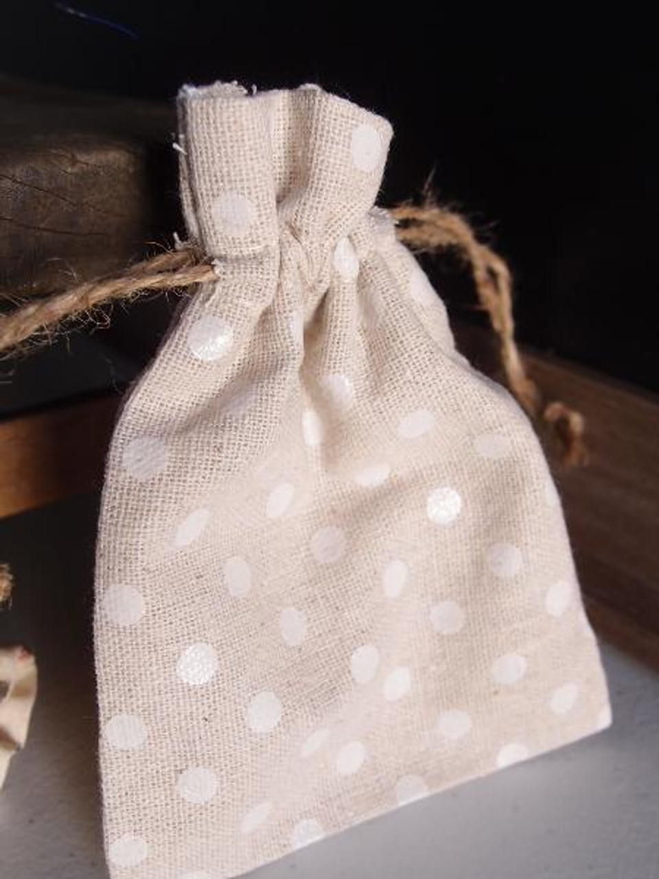 "Linen Bag with White Dots - 3.5""x5"""