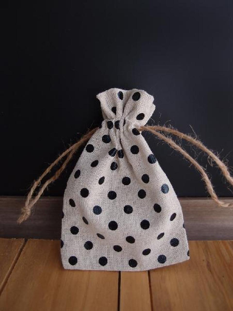 "Linen Bag with Black Dots - 3.5""x5"""