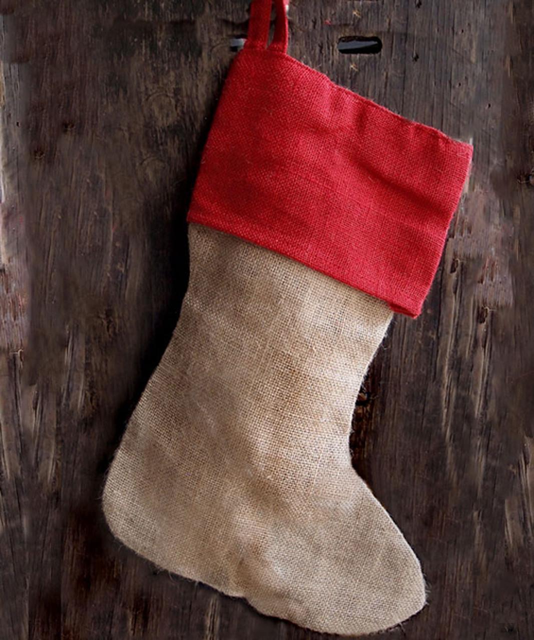 "Red Cuff Burlap Christmas Stocking 17"""