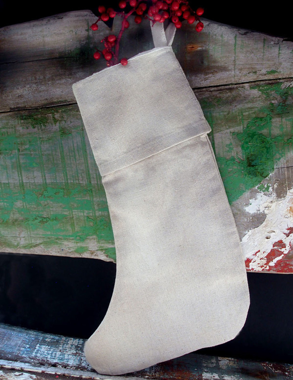 """Linen Christmas Stocking with Cotton Lining 16"""""""