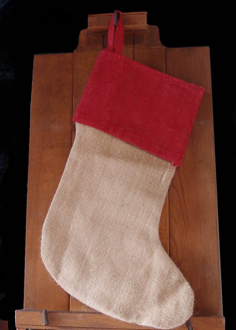 Red Cuff Burlap Christmas Stocking with Cotton Lining 17""