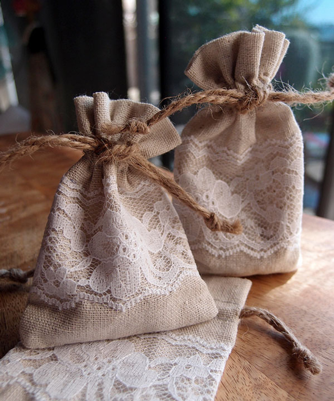 """Linen Bag with Lace - 3""""x4"""""""