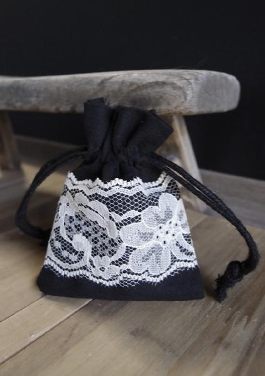 "Black Cotton Bag with Lace - 3""x4"""