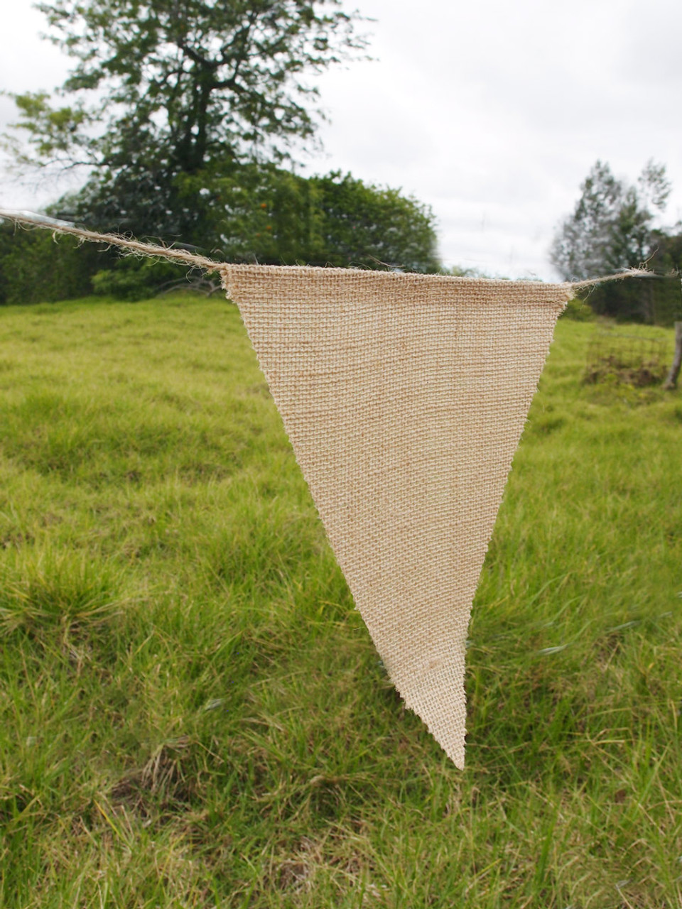 Natural Burlap Triangle Pennant Banner with Jute Cord