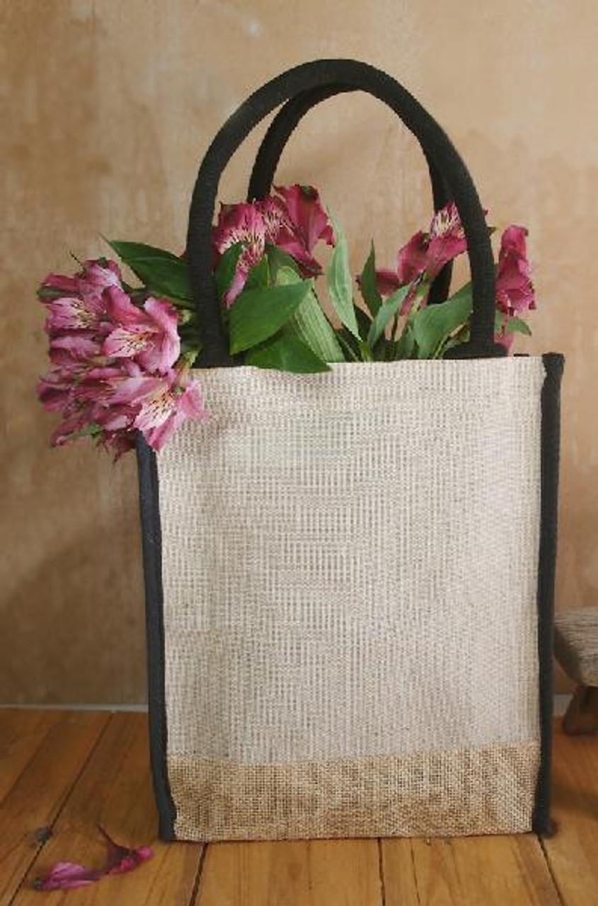 "Jute Cotton Blend Tote with Black Trim 9"" x 11"""