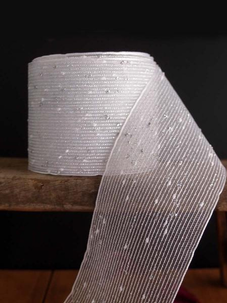 Silver Tufted Cotton Mesh Ribbon (2 sizes)