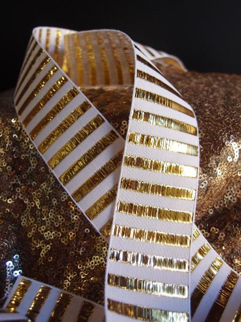 Gold Metallic Horizontal Striped Ribbon (2 sizes)