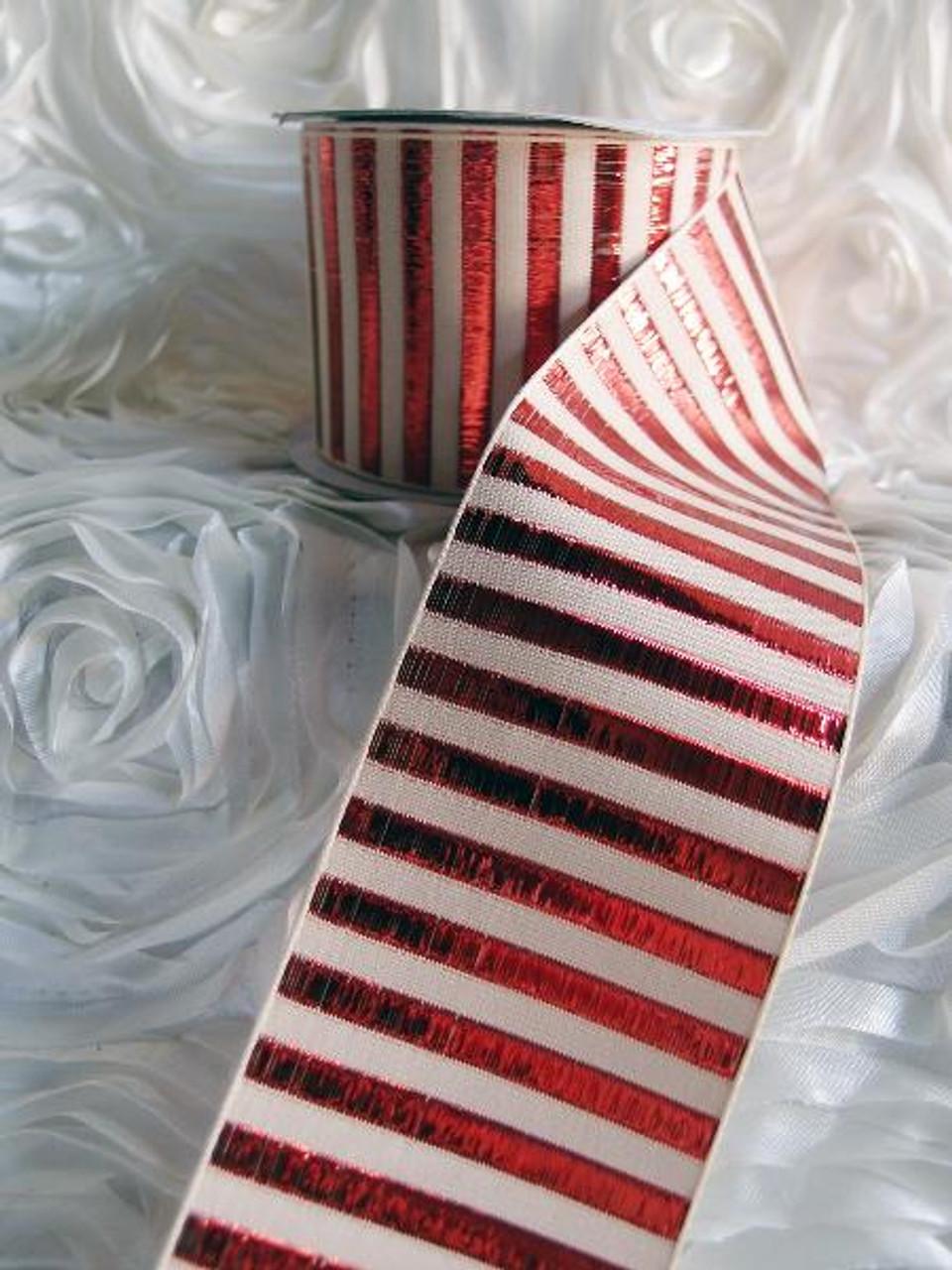 Red Metallic Horizontal Striped Ribbon (2 sizes)