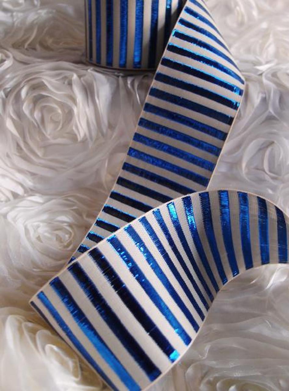 Royal Blue Metallic Horizontal Striped Ribbon 443-53, 444-53 | Packaging Decor