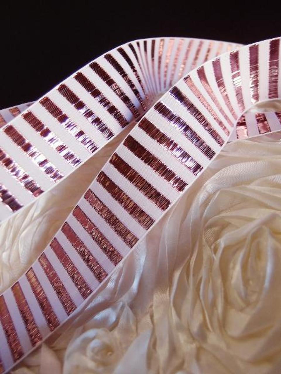 Rose Gold Metallic Horizontal Striped Ribbon (2 sizes)