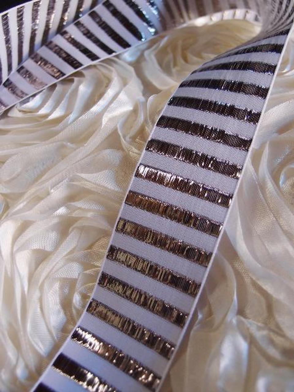 Silver Metallic Horizontal Striped Ribbon (2 sizes)