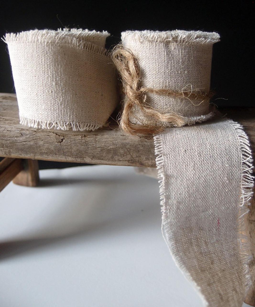 Linen Ribbon with Fringed Edge (3 sizes)