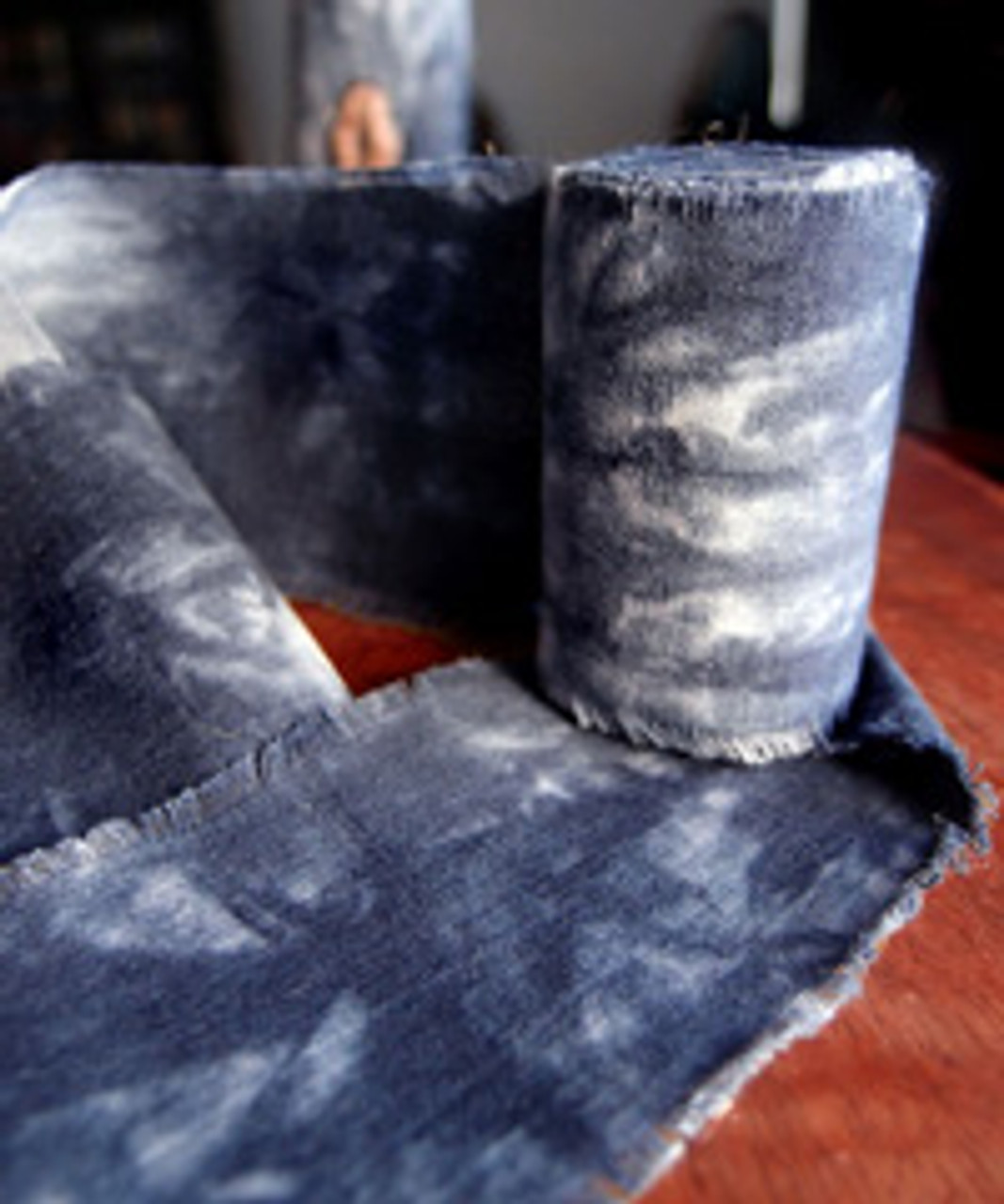 Blue Tie-dyed Linen Ribbon with Fringed Edge (3 sizes)