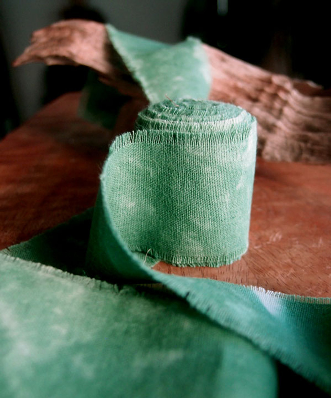 Green Tie-dyed Linen Ribbon with Fringed Edge (3 sizes)