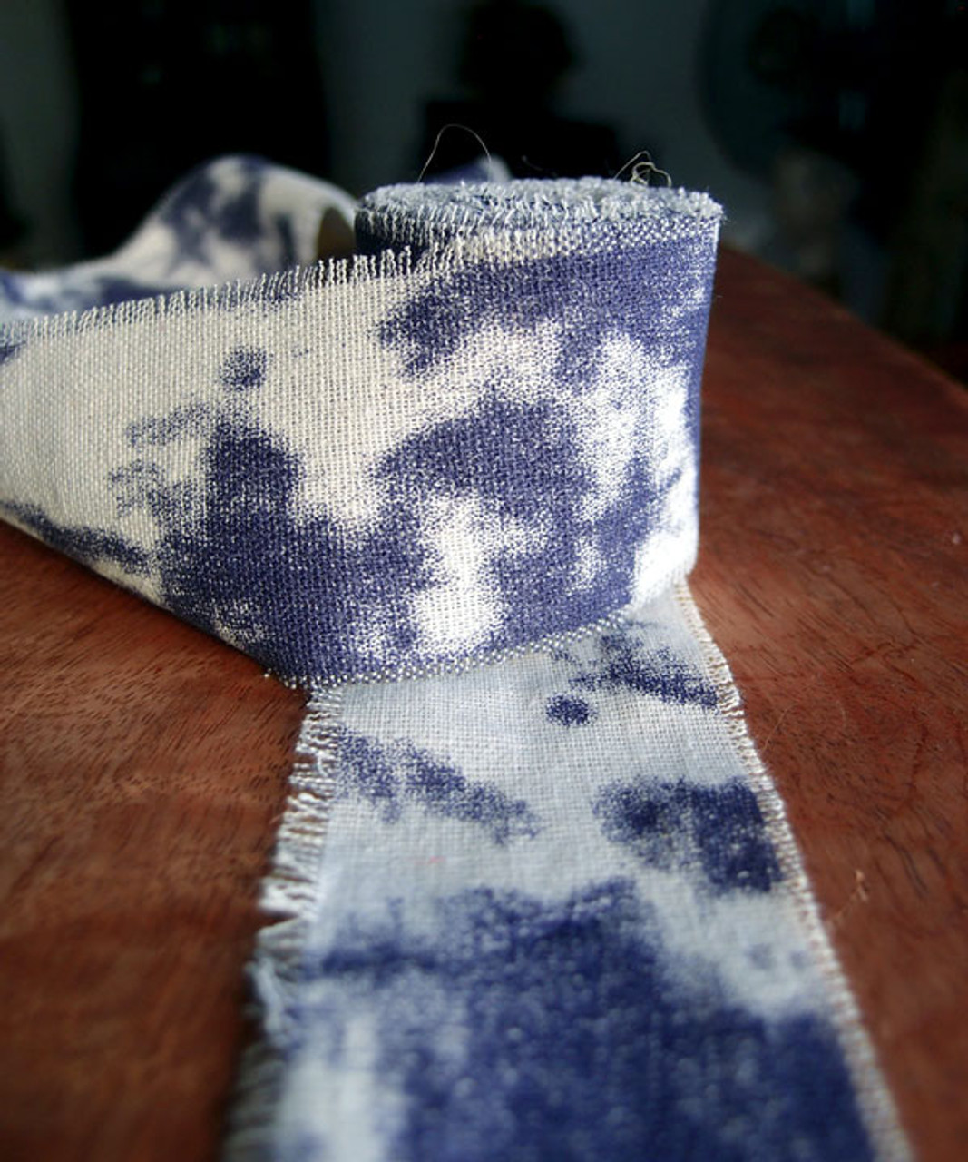Denim Blue Tie-dyed Linen Ribbon with Fringed Edge (3 sizes)