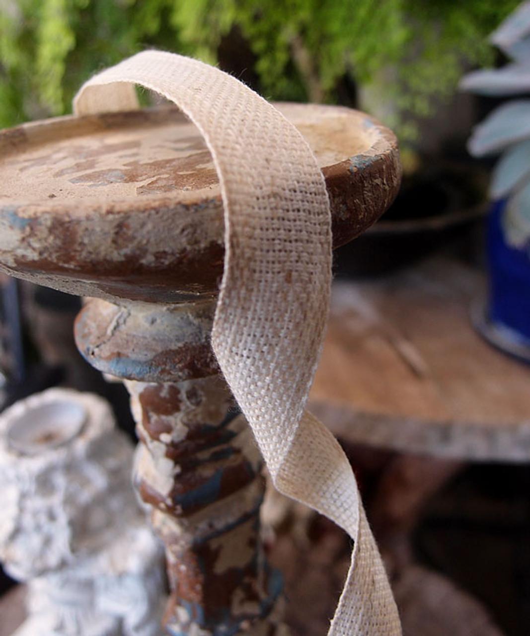 Bleach White Linen/Cotton Blend Ribbon