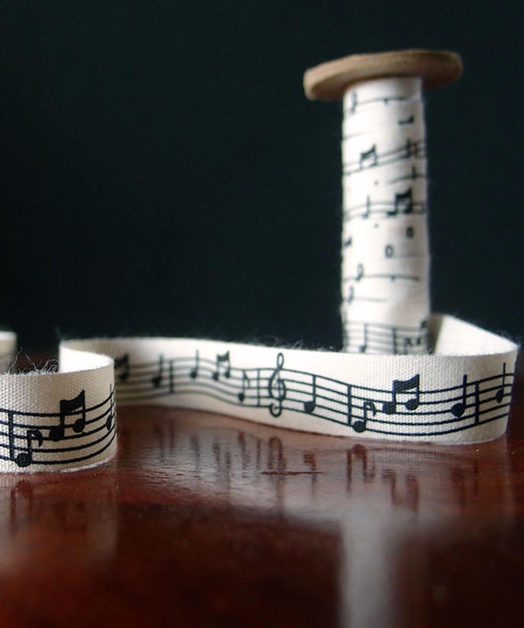 Musical Notes Printed Cotton Ribbon