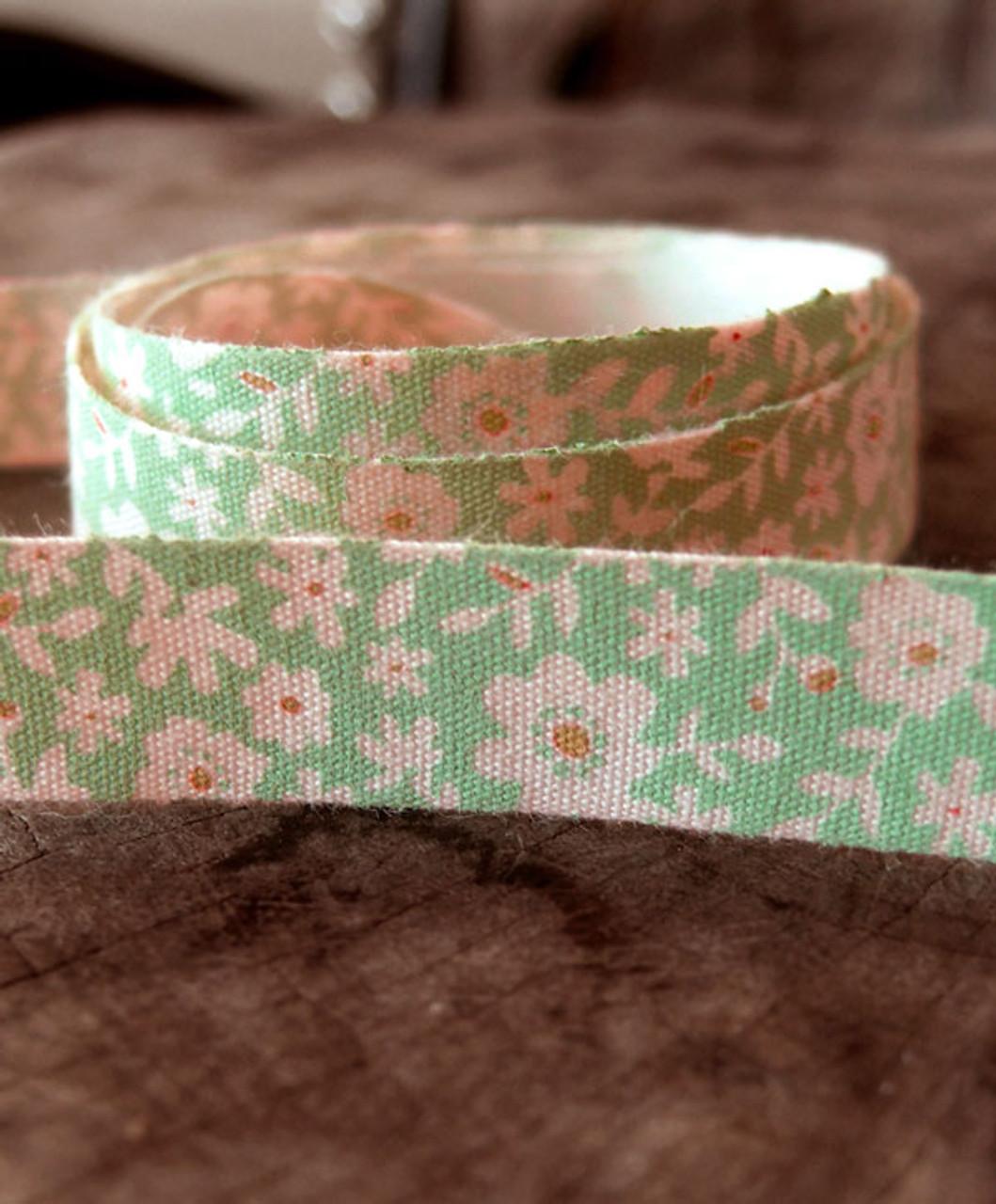 Green Floral Printed Cotton Ribbon