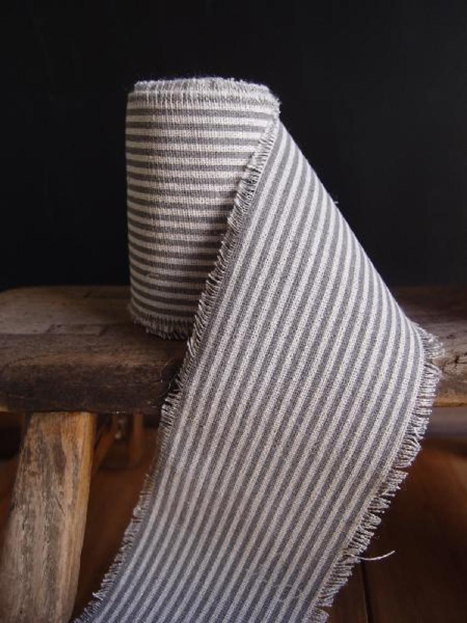 Pewter Gray Striped Linen Ribbon (3 sizes)