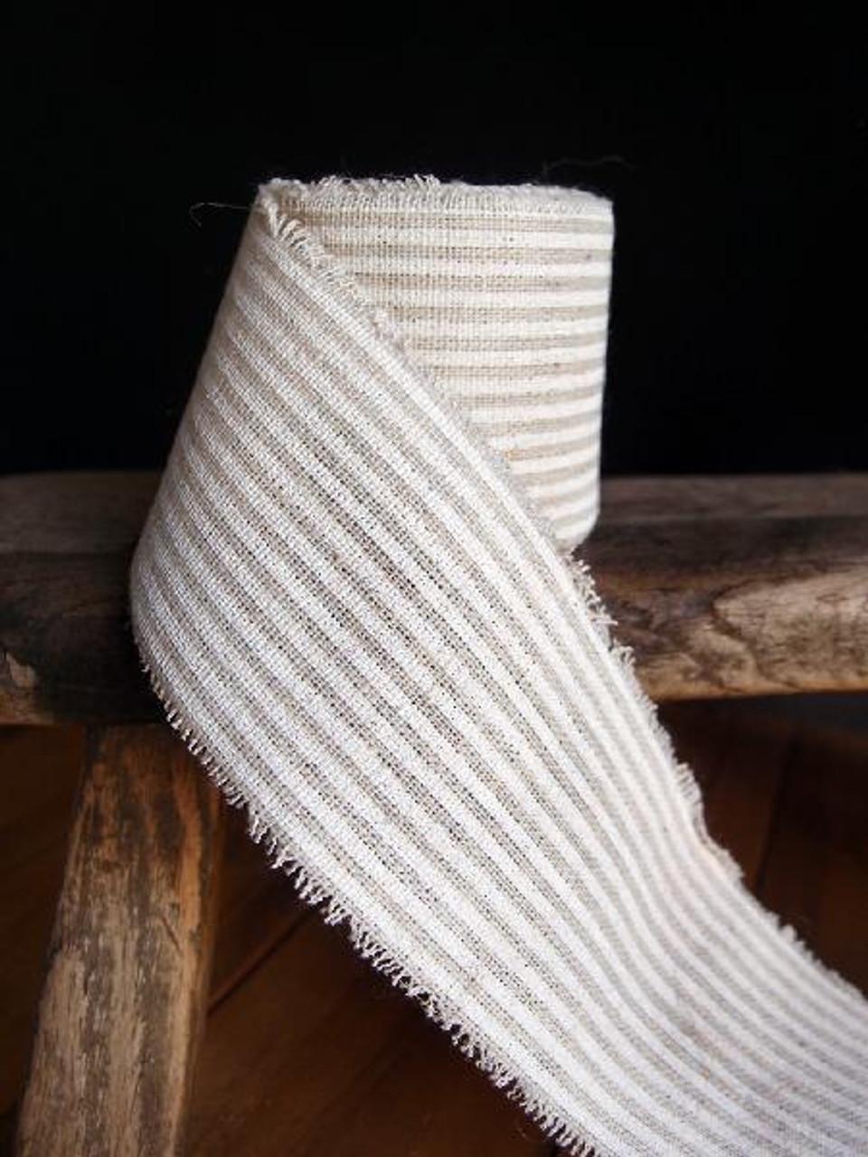 White Striped Linen Ribbon (3 sizes)