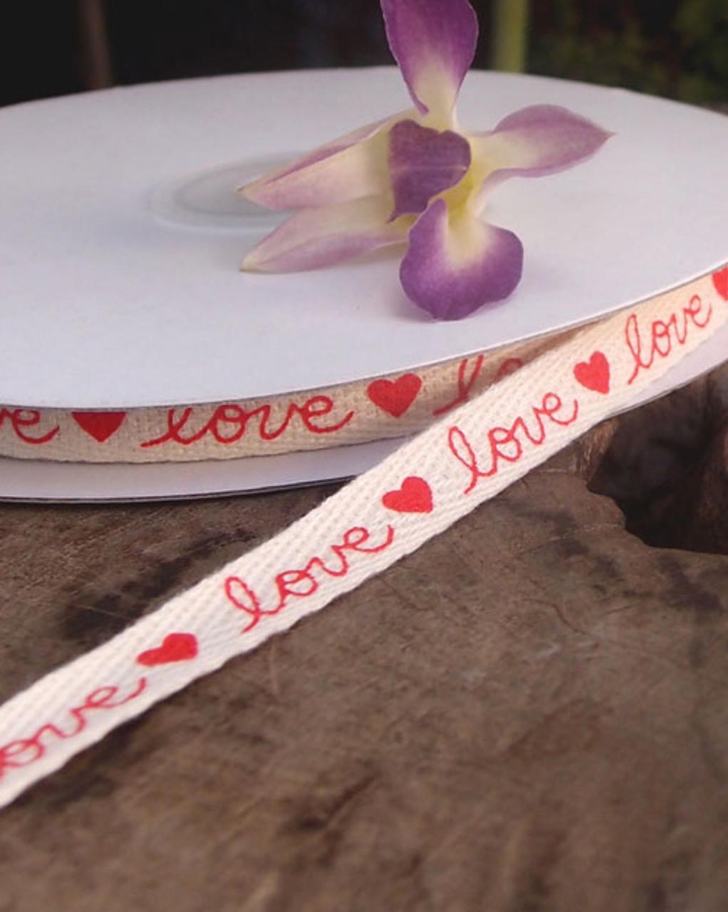 Love Printed Cotton Ribbon (2 sizes)