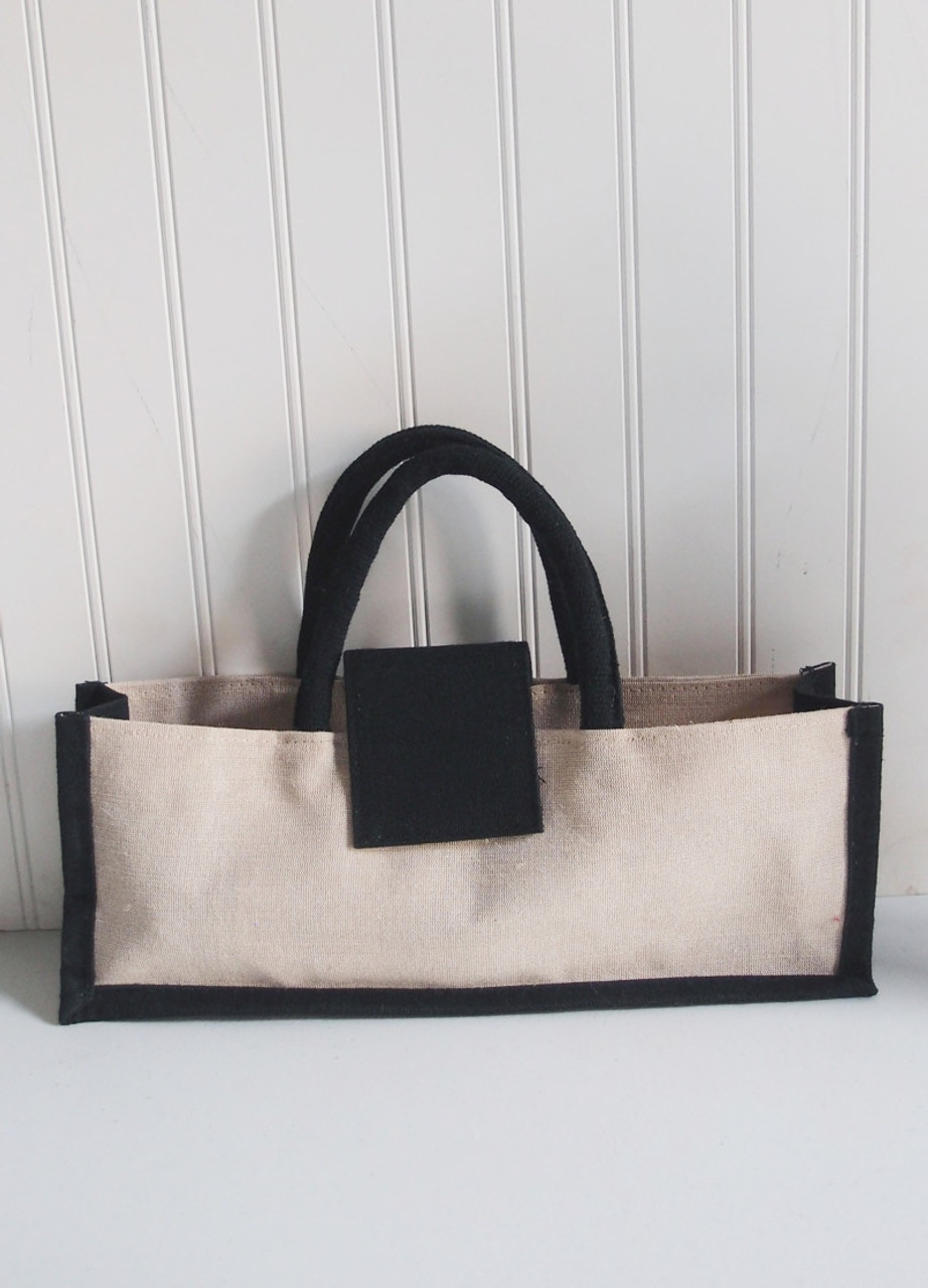 Wholesale Wine Bags, Wine Tote Bags, Jute Blend One Bottle Wine Tote with Black Trim 14 x 5 inches (B066-79)