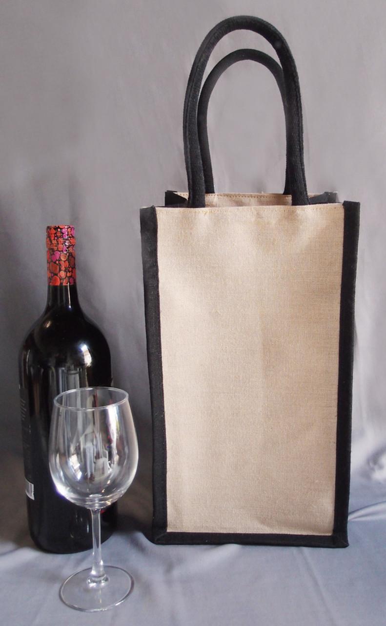 Jute Blend Wine Tote w/Black Trim 2-Bottle