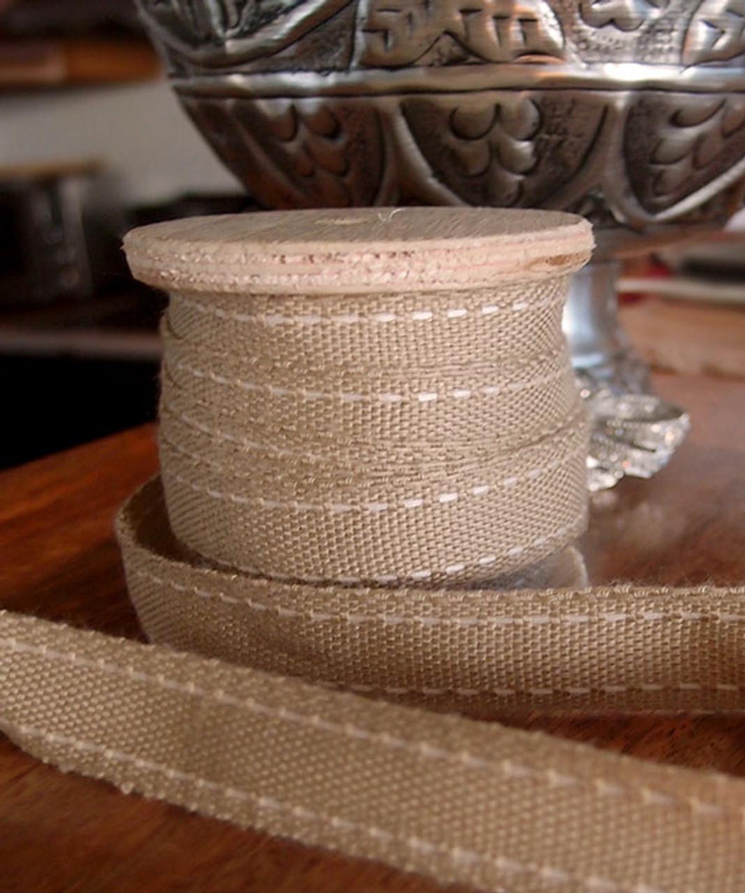 Faux Burlap Ivory Saddle Stitch Ribbon