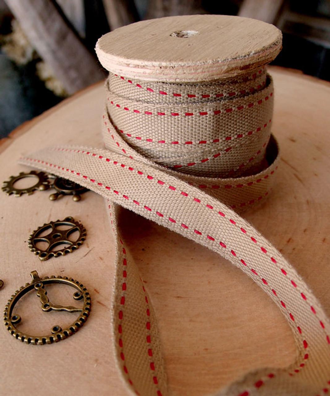 Faux Burlap Red Saddle Stitch Ribbon