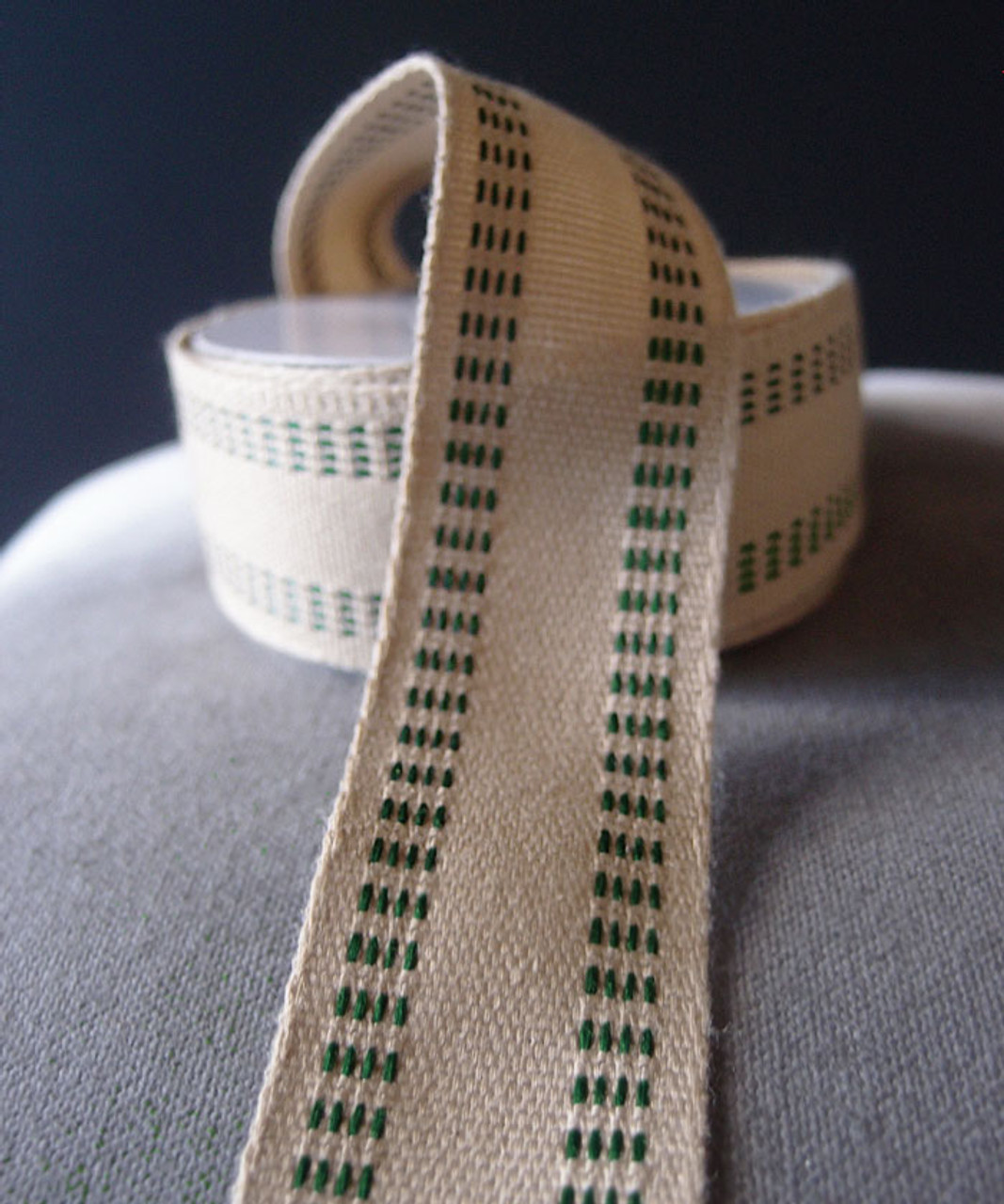 Faux Burlap Webbing with Green Stitching