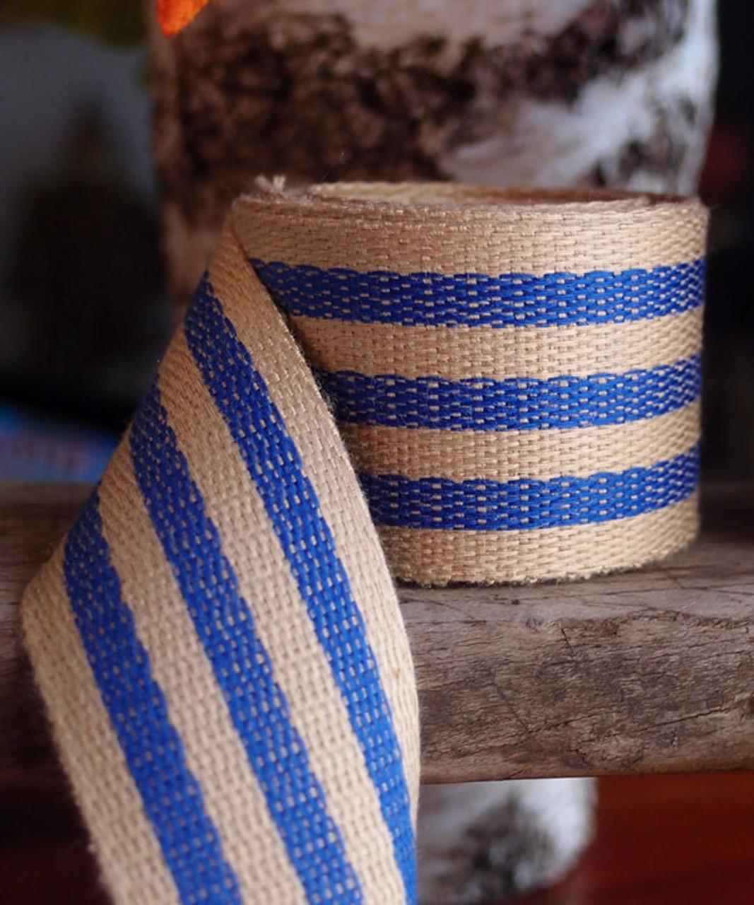 Royal Blue Striped Faux Burlap Ribbon (2 sizes)
