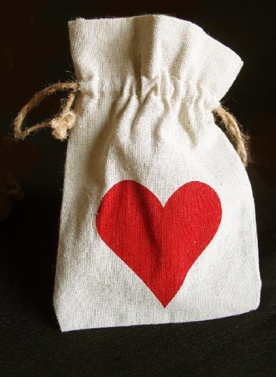 Linen Bag with Red Heart Print (3 sizes)