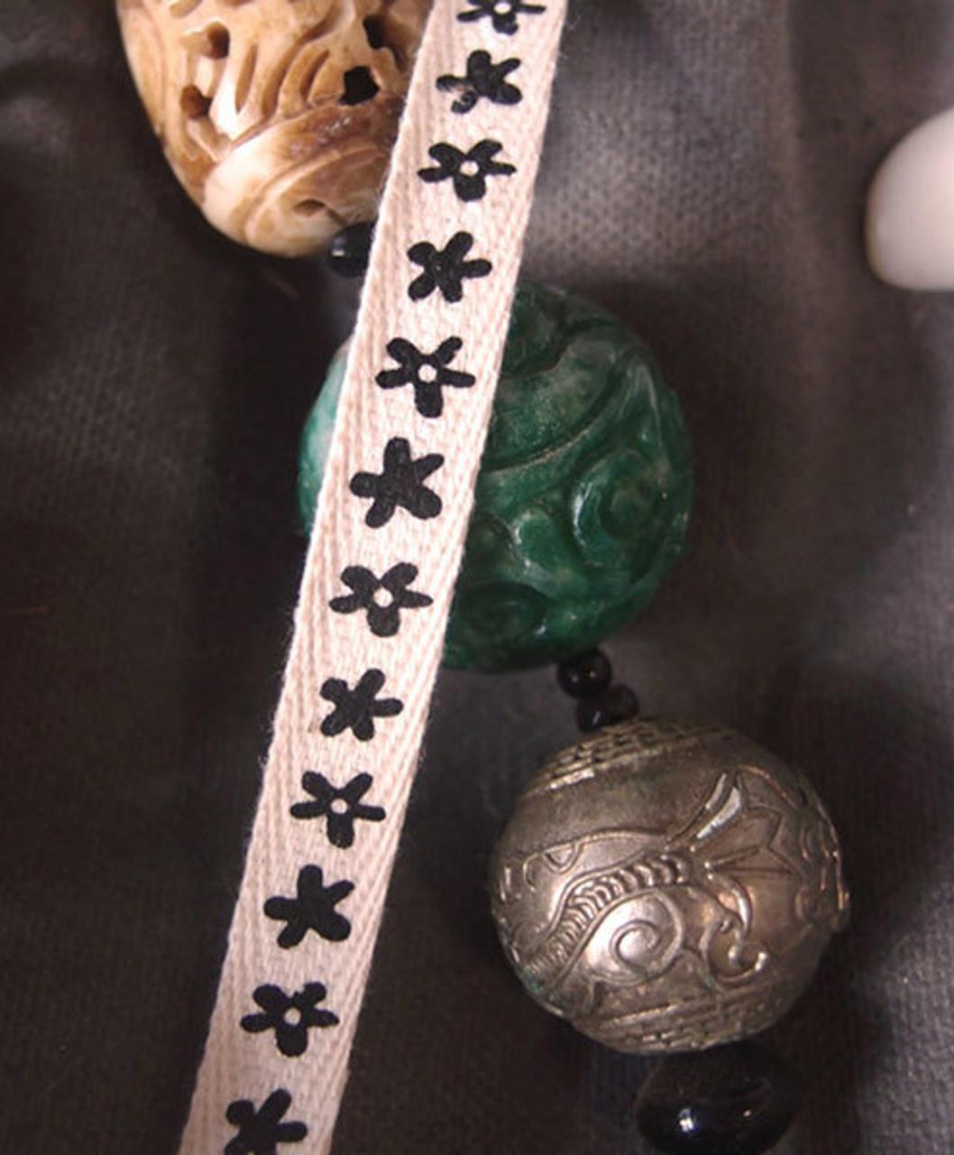 Black Flower Printed Cotton Ribbon