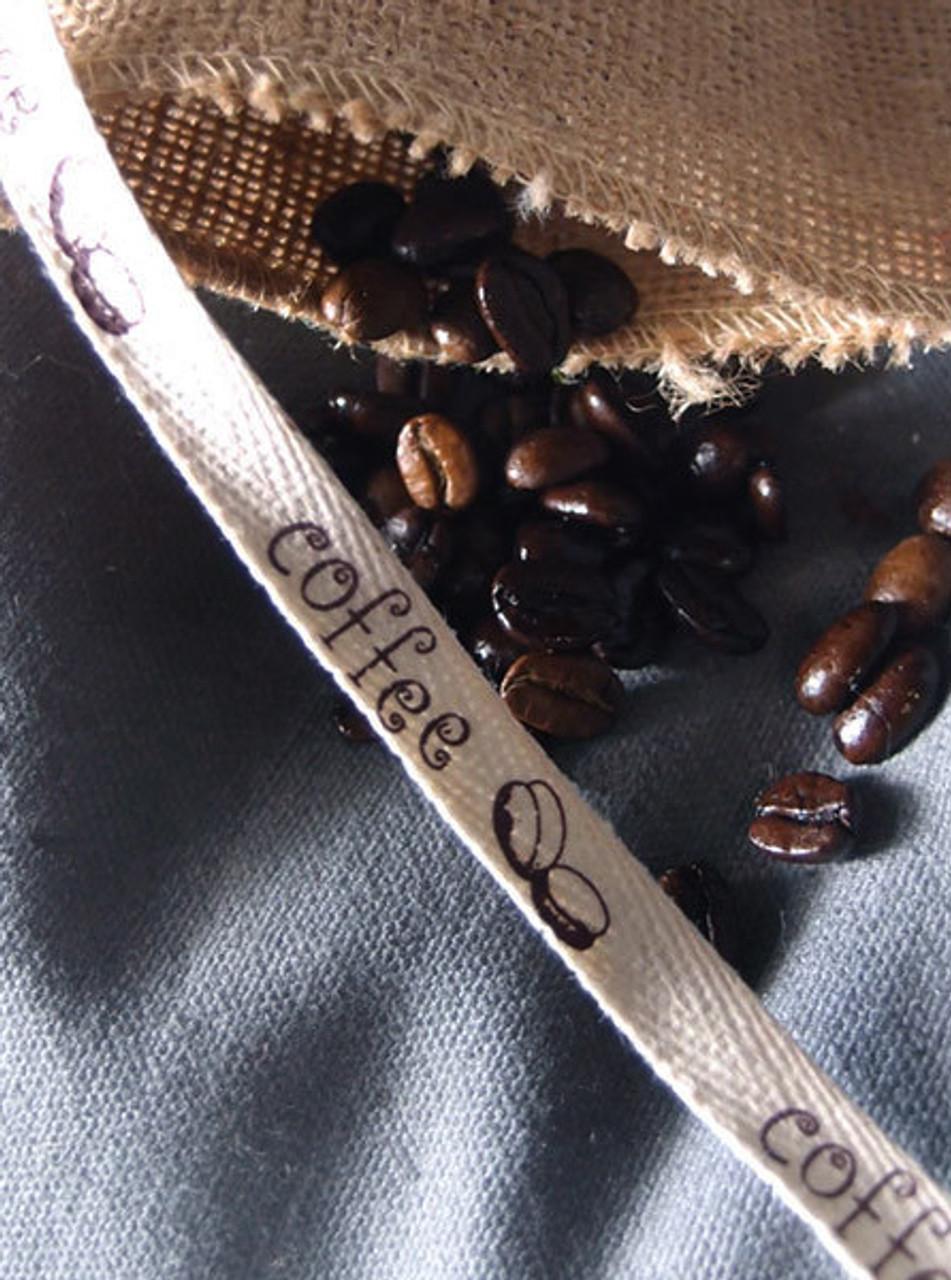 Brown Coffee Bean Printed Cotton Ribbon