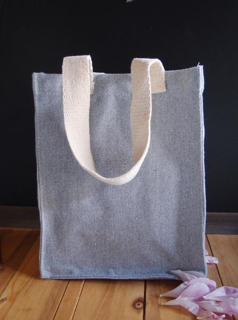 Grey Recycled Canvas Tote Bag 8 x 10 x 5 inches, Wholesale Canvas Tote Bags   Packaging Decor