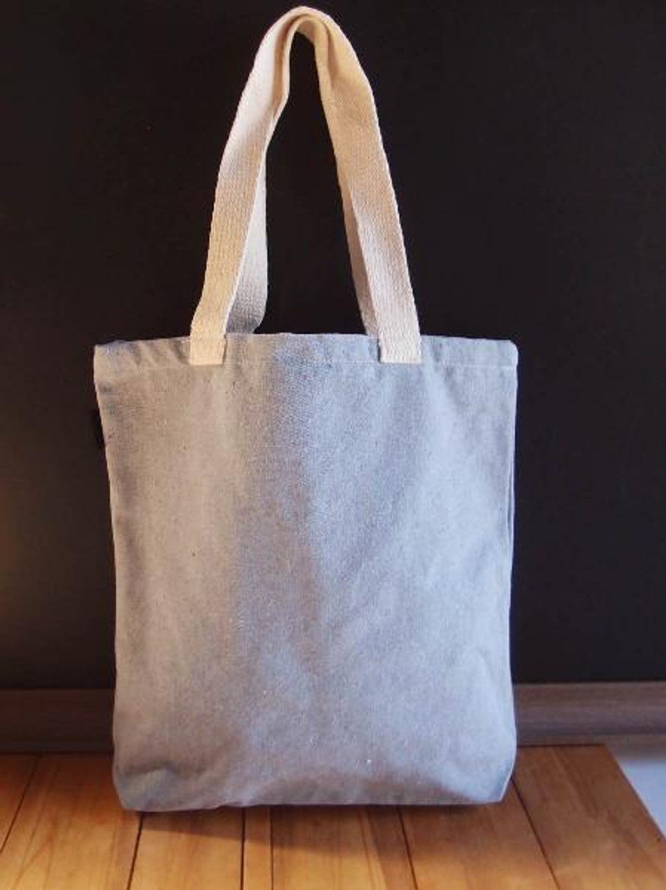 """Gray Recycled Canvas Tote 14"""" W x 14"""" H x 3"""" Gusset"""